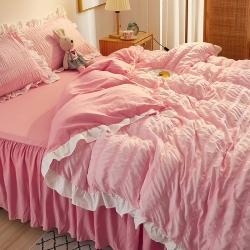 (总)美阁家纺 新款公主风纯色床单款床裙款泡泡纱四件套