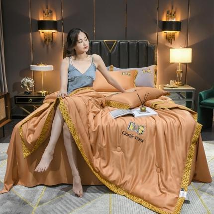 米米果 2021新款水洗真丝刺绣夏被四件套 爱马橙