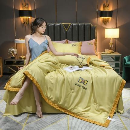 米米果 2021新款水洗真丝刺绣夏被四件套 明亮黄