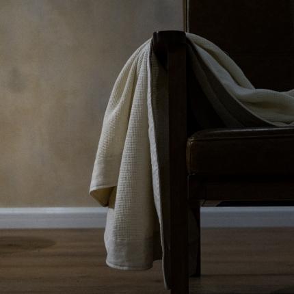 子和家居 2021新款全棉宽边华夫格毯 白色
