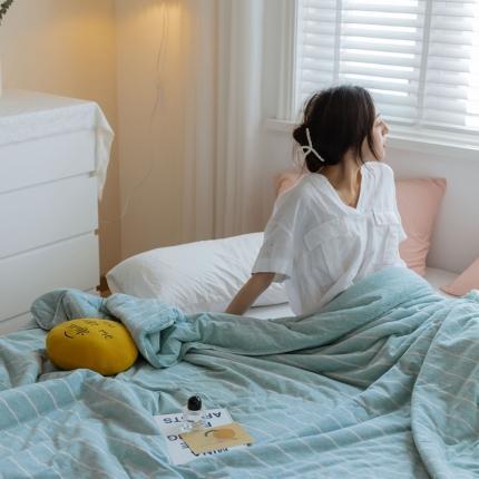 寐眠 2021新款纯色条纹针织棉夏被 水蓝宽条