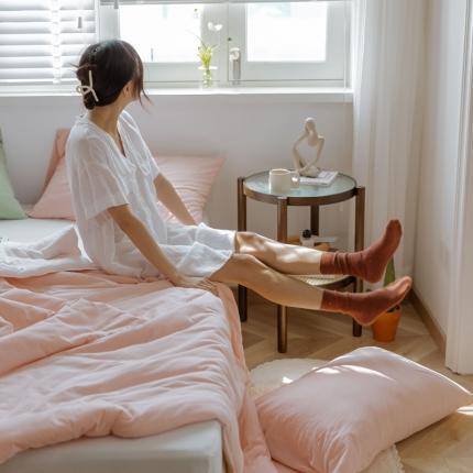 寐眠 2021新款纯色条纹针织棉夏被 樱花粉拼奶白