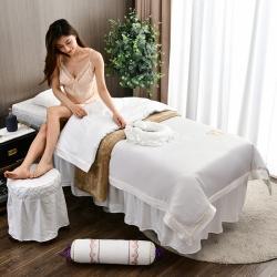 诗薇娅 2021新款天丝莱赛尔美容床罩四件套乐享派-象牙白