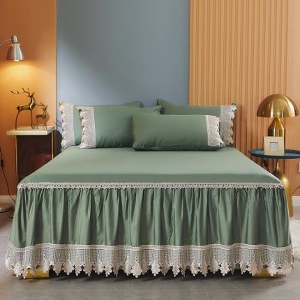 乐朵 2021新品 长绒棉 格蕾尼 蕾丝床裙 绿色