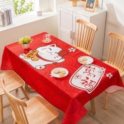 博笔熊 2021新款桌布 招财猫-红