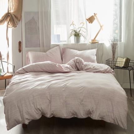 简煦家居 2021新款全棉针织棉缎彩系列四件套 浅紫