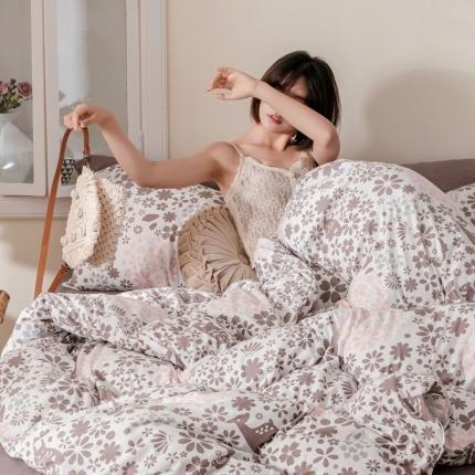 简煦 新款天竺棉全棉活性印花针织棉四件套 碎花-淡粉-咖啡