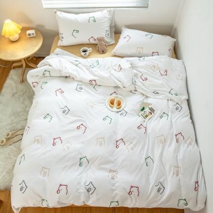 简煦 新款天竺棉全棉活性印花针织棉四件套 泰迪熊