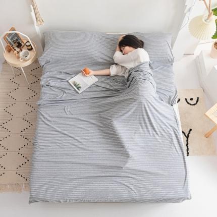 简煦家居 2021新款全棉针织棉睡袋 灰白细条