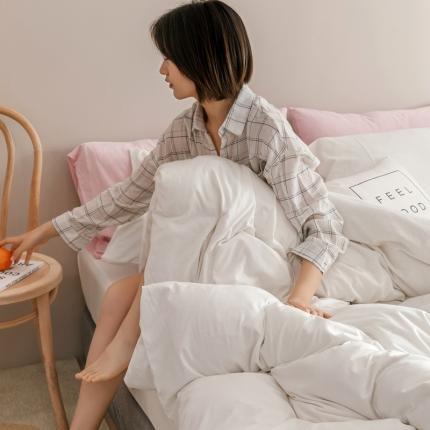 简煦 2021新款针织印染纯色四件套 印-纯白