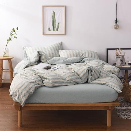 (总)简煦 2021新款全棉色纺针织棉条纹纯色套件系列3