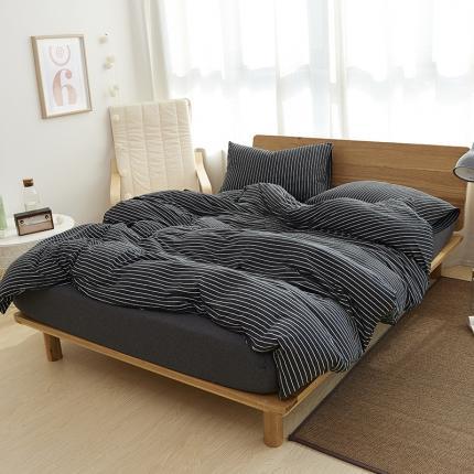 (总)简煦 2021新款全棉色纺针织棉条纹纯色套件系列4