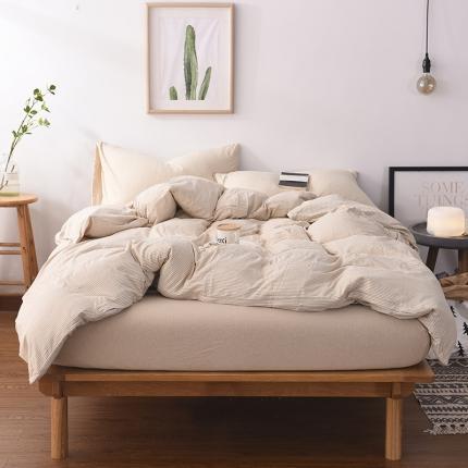 简煦 2021新款全棉色纺针织棉条纹纯色套件系列1 棕棉细条