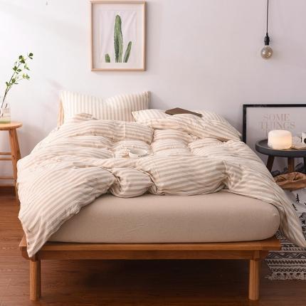 简煦 2021新款全棉色纺针织棉条纹纯色套件系列1 棕棉中条
