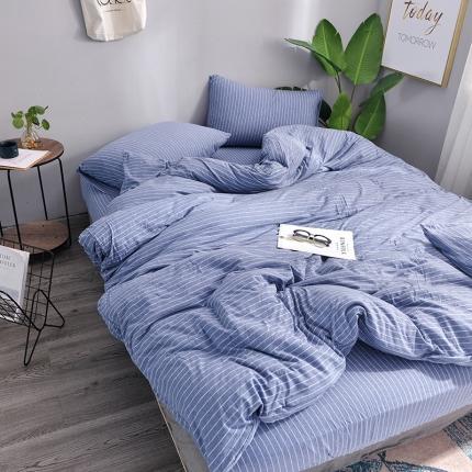 简煦 21新款全棉色纺针织棉条纹纯色套件系列3 牛仔蓝细条