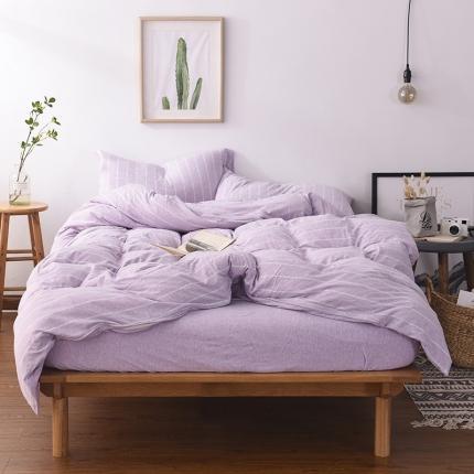 简煦 21新款全棉色纺针织棉条纹纯色套件系列3 深浅紫宽条