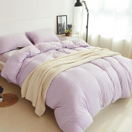 简煦 2021新款全棉色纺针织棉条纹纯色套件系列3 紫宽纯色