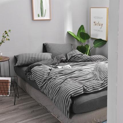 简煦 2021新款全棉色纺针织棉条纹纯色套件系列4 碳灰中条