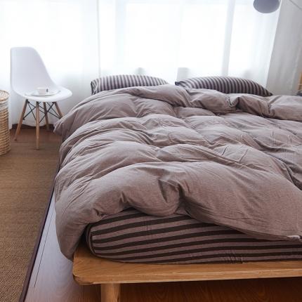 简煦 21新款全棉色纺针织棉条纹纯色套件系列4 小时代深咖