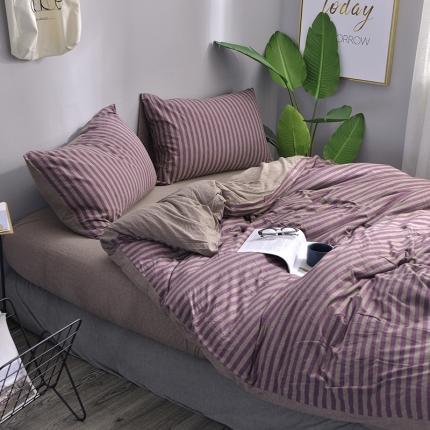 简煦 2021新款全棉色纺针织棉条纹纯色套件系列4 紫咖中条
