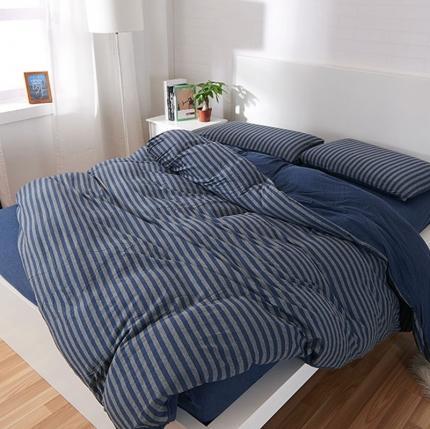 简煦 21新款全棉色纺针织棉条纹纯色套件系列5 深蓝灰中条