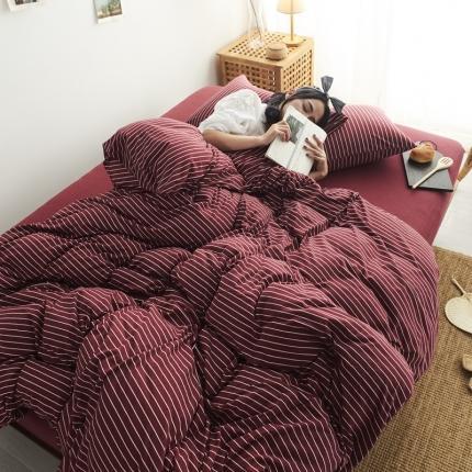 简煦 21新款全棉色纺针织棉条纹纯色套件系列5 新酒红细条