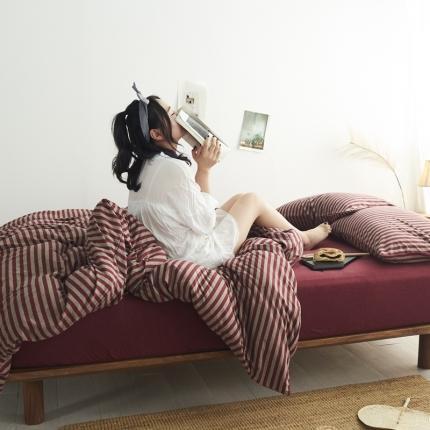 简煦 21新款全棉色纺针织棉条纹纯色套件系列5 新酒红中条