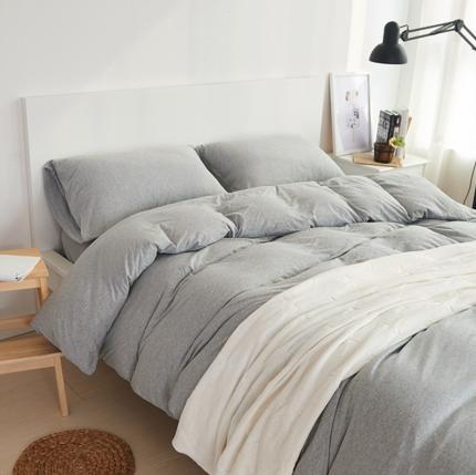 (总)简煦2021新款全棉色纺针织棉条纹纯色套件系列1单被套