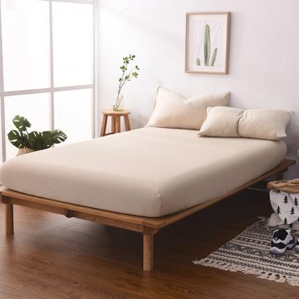(总)简煦2021新款全棉色纺针织棉条纹纯色套件系列1单床笠