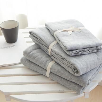 (总)简煦2021新款全棉色纺针织棉条纹纯色套件系列1单床单
