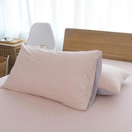 (总)简煦2021新款全棉色纺针织棉条纹纯色套件系列2单枕套