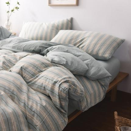 (总)简煦2021新款全棉色纺针织棉条纹纯色套件系列3单被套