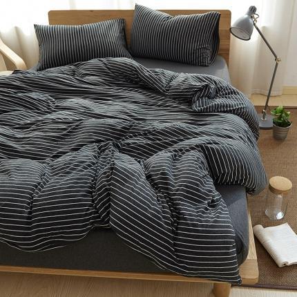 (总)简煦2021新款全棉色纺针织棉条纹纯色套件系列4单被套