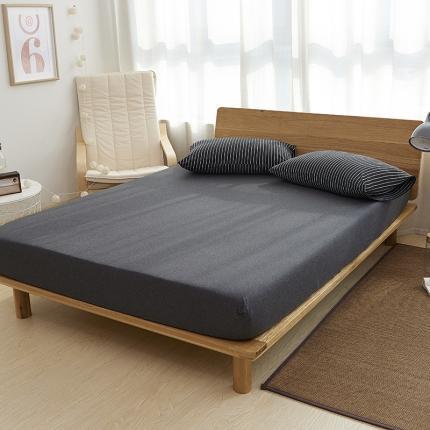 (总)简煦2021新款全棉色纺针织棉条纹纯色套件系列4单床笠