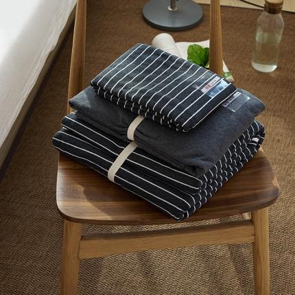 (总)简煦2021新款全棉色纺针织棉条纹纯色套件系列4单床单