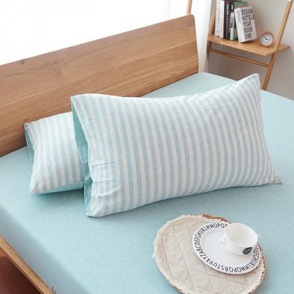 (总)简煦2021新款全棉色纺针织棉条纹纯色套件系列4单枕套