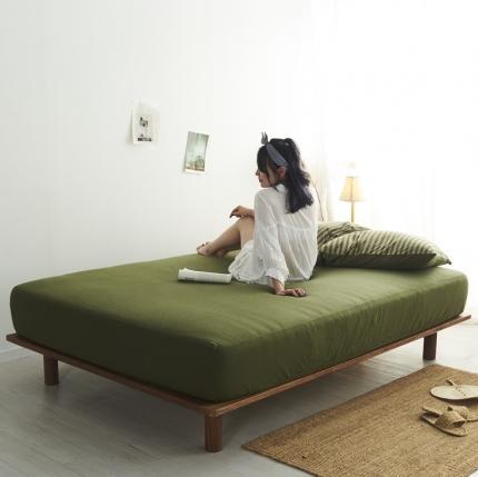 (总)简煦2021新款全棉色纺针织棉条纹纯色套件系列5单床笠