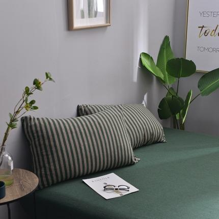 (总)简煦2021新款全棉色纺针织棉条纹纯色套件系列5单枕套