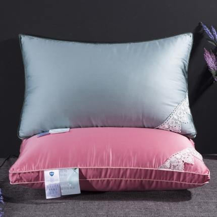 艾丽丝枕芯 玻尿酸羽丝绒枕芯蓝色 粉色羽丝绒枕芯助睡眠单人枕