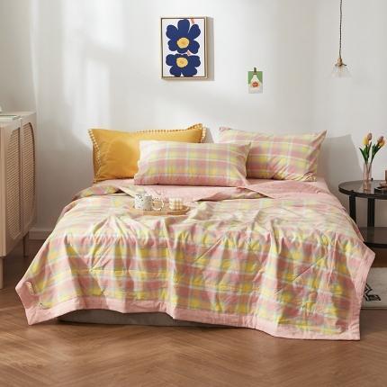 平头哥 2021新款色织水洗全棉棉花夏被四件套 弗暖-粉黄