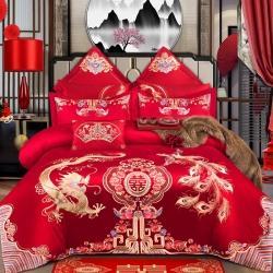 总玉雅2021新款100支长绒棉玻尿酸刺绣婚庆四件套多件套