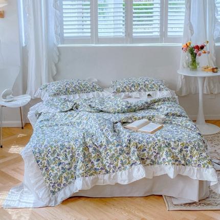 2021新款春夏白色花边款夏被 紫藤花园