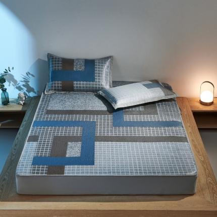 米亚 2021新款提花三色床笠款水洗冰丝席 风格韵律-蓝咖格