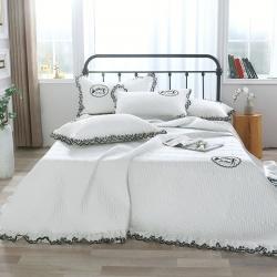 总-OL床盖盖毯正反面60S长绒棉蕾丝多功能四季被三四件套