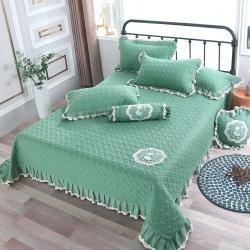 (总)OL床盖盖毯正反面13372全棉白蕾丝多功能三件套