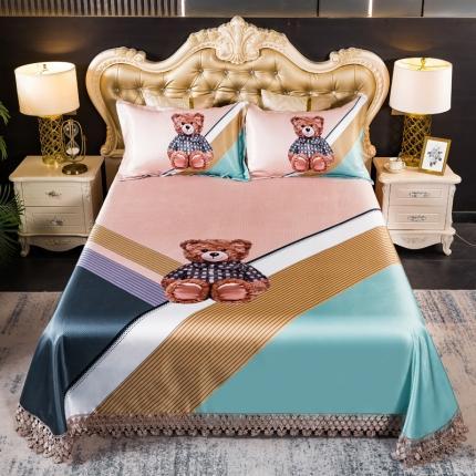 鑫帝 数码大版提花蕾丝床单款冰丝凉席三件套 公仔熊