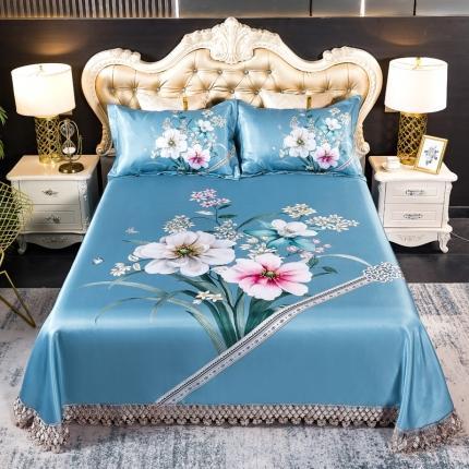 鑫帝 数码大版提花蕾丝床单款冰丝凉席三件套 花幵幷蒂
