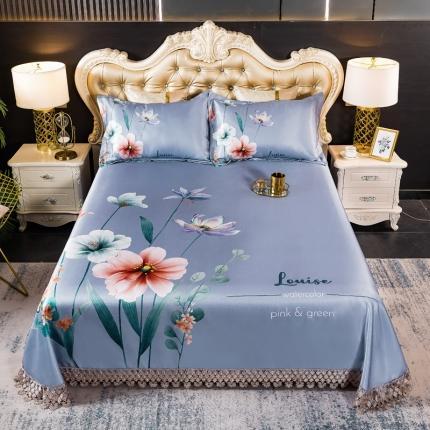 鑫帝 数码大版提花蕾丝床单款冰丝凉席三件套 花香漫漫
