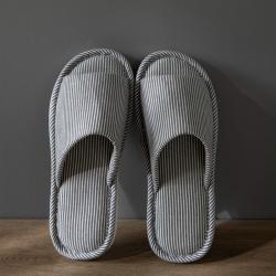 (总)宜色家 2021新款开口条纹水洗棉拖鞋软底露脚趾拖鞋