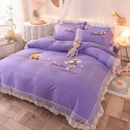 九诺家纺 2021新款小清新绣花蕾丝床裙四件套-花香物语 浪漫紫